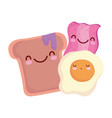 bacon fried egg and bread with jam menu character vector image vector image