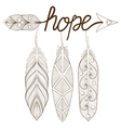 Bohemian Arrow Hand drawn Amulet letters Hope with vector image vector image