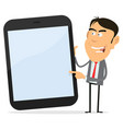 businessman showing tablet pc vector image vector image