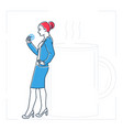 businesswoman on a coffee break - line design vector image vector image
