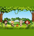camping kids in nature vector image vector image
