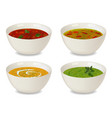 collection of bowls with soup and cream soup with vector image