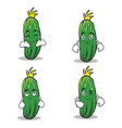cucumber character cartoon collection set vector image vector image