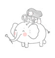 cute cartoon girl elephant monkey and hippo vector image