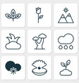 ecology icons set with sprout snowy weather rose vector image vector image