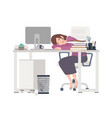 exhausted female office worker manager or clerk vector image