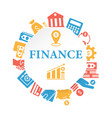 finance poster with outline icons set vector image vector image