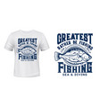 fishing and diving t-shirt print with flounder vector image vector image