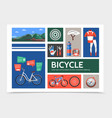 flat bicycle infographic concept vector image