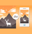 flat landscape with deer flat vector image