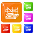 graph icons set color vector image vector image