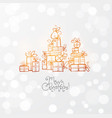 greeting card with gold christmas gift boxes vector image vector image