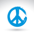 Hand drawn simple peace icon brush drawing blue vector image vector image