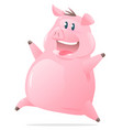 happy jumping pig cartoon vector image vector image