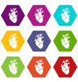 heart icon set color hexahedron vector image vector image