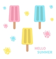 Ice cream icon set with blots splashes White vector image vector image