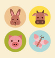 icons set farm animal vector image