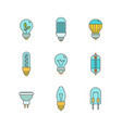 light bulbs iconset in minimal lineart flat style vector image vector image