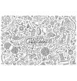 Line art hand drawn doodle cartoon set of vector image vector image