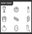 new year outline isometric icons vector image vector image