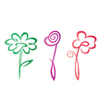 outlined hand drawn flowers collection vector image vector image