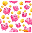 piggy bank and coins seamless vector image