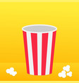 popcorn round box standing on the surface movie vector image vector image
