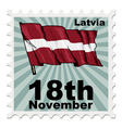 post stamp of national day of Latvia vector image vector image