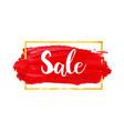 red brush stroke sale banner with golden frame vector image vector image