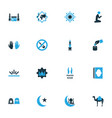 religion icons colored set with mecca people vector image