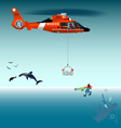 Rescuer descends from a helicopter cart vector image vector image