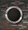 round silver frame on old brick background vector image