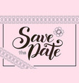 save the date in brown on light pink background vector image