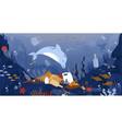 sea garbage marine animals floating in dirty vector image