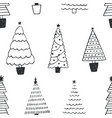 seamless pattern with different christmas trees or vector image
