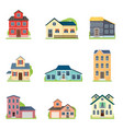 set cute colorful houses in city or village vector image vector image