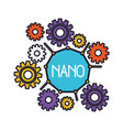 set gear machinery around of nano molecule vector image vector image