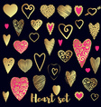 Set of gold and pink ornate heart vector image
