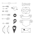 Set Wedding and Valentines Day doodles vector image