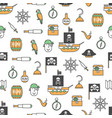 thin line art pirates seamless pattern vector image vector image