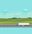 truck on the road summer rural landscape with vector image vector image