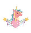 unicorn cartoon rainbow shooting stars decoration vector image vector image
