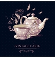 vintage card with cup tea or coffee and pot vector image