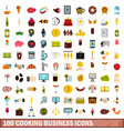 100 cooking business icons set flat style vector image vector image