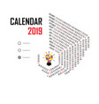 2019 calendar templatehexagon shape vector image vector image