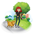 a girl with dog walking along the street vector image