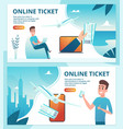 air ticket online order avia tickets using mobile vector image