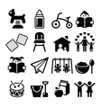 Baby or toddler in nursery or day care icons set vector image