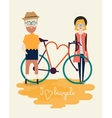 bicycle silhouette with people vector image