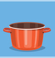 black cooking pot empty red saucepan vector image vector image